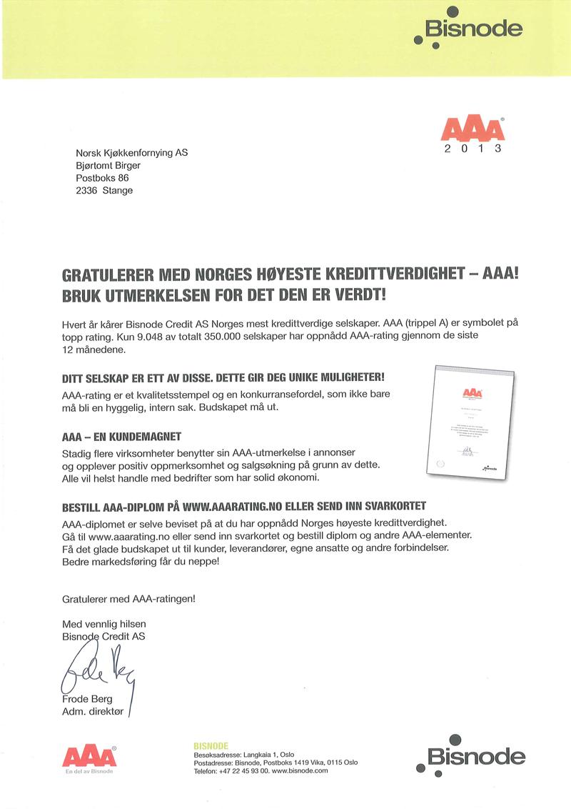 AAA Kredittverdighet, 2013